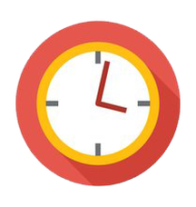 Pastel Red and yellow cartoon clock