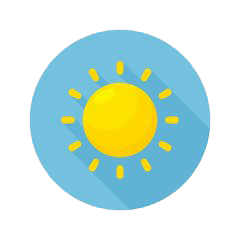Cartoon sun with round baby blue background.